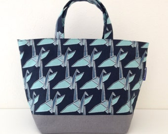 Insulated lunch bag, crane origami, lunch bag, tote, lunch, food bag, Japanese fabric