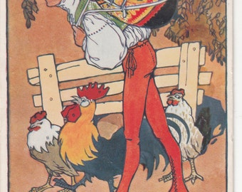 A/S Folkloric Czech Postcard W Folkloric Man Carryting Large Colorful Easter Egg W Chickens And Roosters C1910