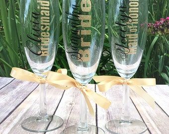 8 bridesmaid champagne glasses personalized bridal party gifts