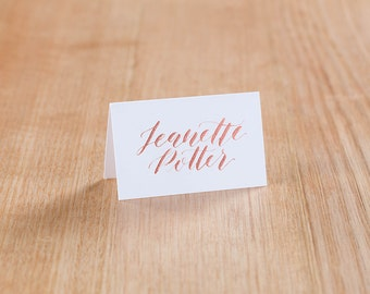 Copper Ink Calligraphy Place Cards
