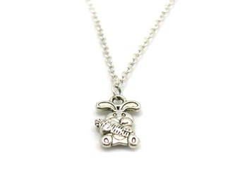 Bunny Necklace, Rabbit Charm, Bunny Charm, Bunny Pendant, Bunny Jewelry, Bunny Charm Necklace, Silver Bunny Charm Pendant, Rabbit Necklace