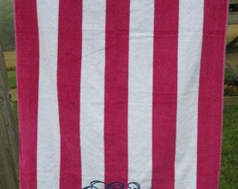 Monogrammed Striped Beach Towel