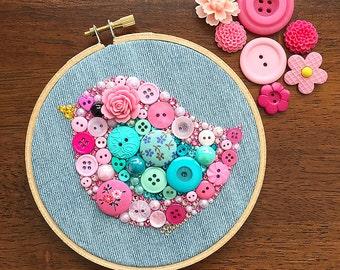 Custom Baby Bird Embroidery Hoop Art - Button Art Wall Hanging - Nursery Decor - Baby Room Decor - Hoop Wall Art - Custom Nursery Art