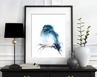 Watercolor Print , Minimalist Bird Painting, Watercolor Painting, Turquoise, Wall Art