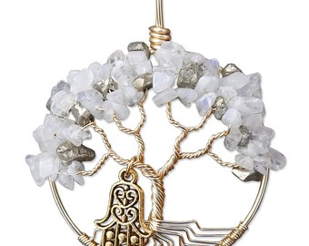 Golden Apples Wire Wrapped Tree of Life with Hamsa Charm