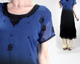 Hand-beaded silk tunic blouse kurta women beaded India tunic top M VINTAGE ethnic dress short sleeve kameez blue black evening long tunic