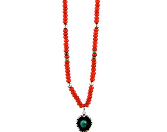Red Coral Trade Bead Necklace  w/ Vintage Sterling Silver & Turquoise Pendant (Necklace Made by TK)