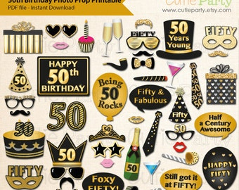 50th Birthday Party Photo Booth Prop, Fiftieth Birthday Party Printable, Fifty Birthday Party Printable