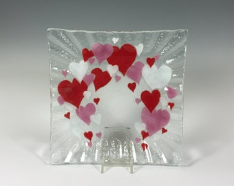 Fused Glass Hearts Dish Valentine's Day Plate
