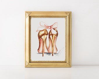 Fashion Illustration,Fashion print, Fashion, Gold heels print, Fashion sketch, Glitter art, Watercolor art, Fashion art, Gold fashion print