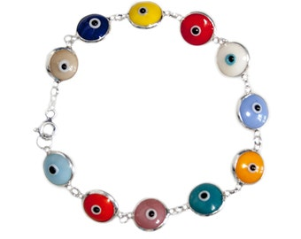 Opaque Multicolor Evil Eye Silver Bracelet - Protection Against Evil Eye - EVL021