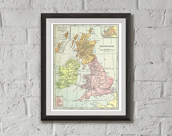 Instant Download of United Kingdom Map Vintage Illustration, Printable - British Isles UK, 8x10, Wall Decor, Wall Art Print, Drawn in 1898