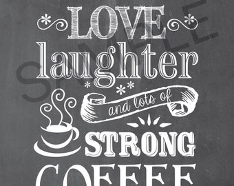 Coffee Word Art 5x7 Print / Sign - This home runs on love, laughter and lots of strong coffee