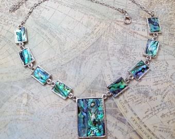 Paua Abalone Shell Statement Necklace, Tribal Ethnic Sea Shell Ladies Jewelry