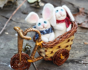 Needle Felted Miniature - Christmas bunnies in the motorbike, Christmas Gift, Christmas ornament,  READY TO SHIP!