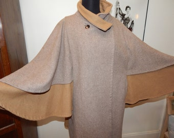 Vintage Tiered Wool Cape Coat Avant Garde Vintage Poncho Cape Unique Cape coat S/M