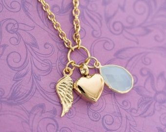 Gold Chalcedony Memorial Pendant with Angel Wing - Cremation Jewelry - Engraved Jewelry - Urn Necklace - Pet Memorial - Ash Necklace