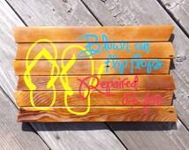 Blown out Flip Flops Repaired Here painting on reclaimed wood sign - Jimmy Buffett Margaritaville - tiki bar sign - Margaritaville sign