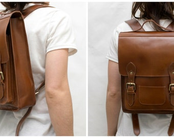 "Leather Backpack | Brown | Scandinavia Inspired Simplicity | Front pocket | Festival Bag | Cycle Bag | Day Bag | Fit 13"" Laptop"