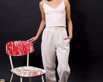 vintage trousers / high waist pants /  pleated cotton trousers / S XS
