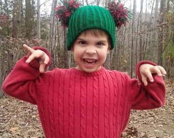 Christmas Double Pom Pom Crochet Children's Hat, Green Pom Pom Hat, Red Pom Pom Hat, Winter Hat