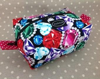 Diamond glitter fabric boxy zipper bag jewels zippered pouch gems make up bag knitting project bag cosmetic bag wash bag toiletry bag
