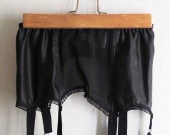 Gorgeous 1940s style black satin garter belt