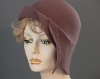 Mauve pink felt cloche hat, up & down brim, felt feather, 1930's, vintage inspired, hand made, hand blocked, womens felt hat, tea, church