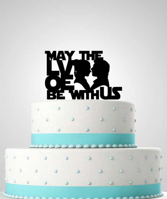 Star wars inspired wedding cake topper may the love be with star wars inspired wedding cake topper may the love be with us star wars wedding junglespirit Choice Image