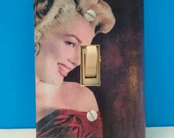 Decoupaged Marilyn Monroe Light Switchplate Cover, Single Switchplate, Decoupaged, Handmade, Marilyn Monroe, Made By Mod.
