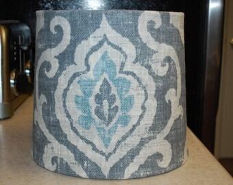 Custom Gray and Aqua Burlap-type Lamp Shade