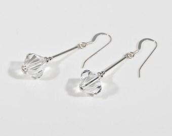 Crystal bridal earrings, Swarovski wedding earring, Silver & crystal brides earrings, Swarovski earrings, Bridesmaid earrings, Drop earrings