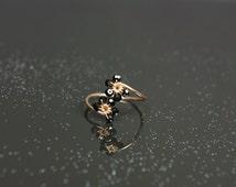 Rose Gold Ring, Black Spinel & Rose Gold Adjustable Ring Adjustable Flower Ring Thin Rose Gold Band UK size M 1/2 US size 6 1/4 (6.25)