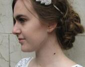 Vintage 1920s Great Gatsby Silver Rhinestone Crystal Leaf Headband Headpiece Flapper Bridal Diamante Headdress Dress Art Deco Wedding Q15