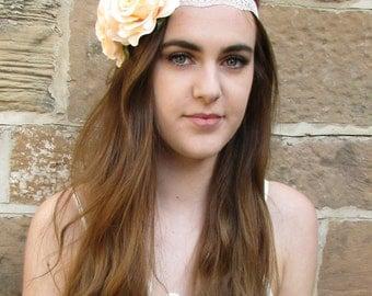 Peach Rose Flower Headband Lace Vintage 1920s Flapper Great Gatsby Headdress V17