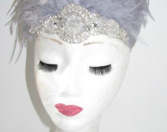 Grey Feather Headdress Burlesque Samba 1920s Showgirl Carnival Silver Y32