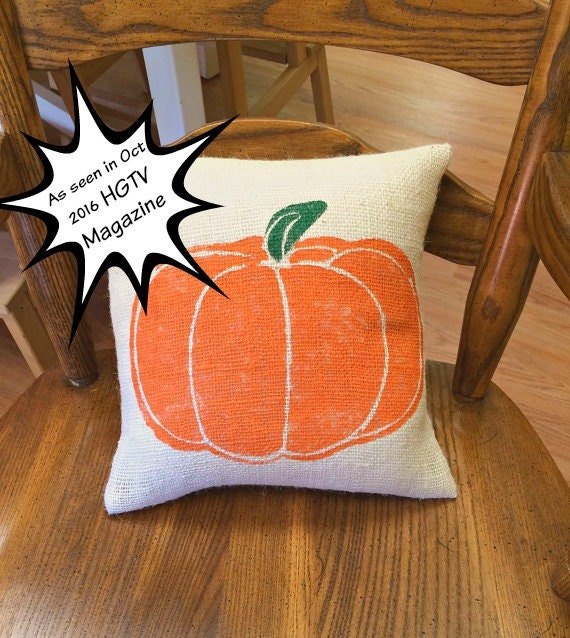 Halloween Pillow, Pumpkin Pillow, Burlap Pillow, Halloween Decoration, Fall Decor, Outdoor Pillow, Halloween Decor, as seen in HGTV Magazine