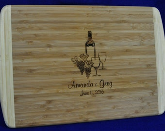Wedding Gifts For Couple ~ Wedding Gift ~ Engraved Cutting Board ~ Free Engraving ~ Wine Gift ~ Christmas Gifts For Friends ~ Anniversary ~