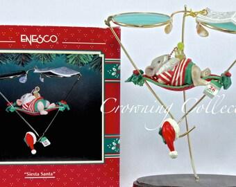 Enesco Siesta Santa Ornament Christmas Spectacles Series Mouse Sunglasses Santa Claus Vintage Treasury of Christmas