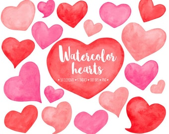 Watercolor Hearts Clipart. Hand Painted Heart Watercolor Clip Art. Red, Pink & Peach Heart, Love, Mother's Day, Valentine's Day Clipart