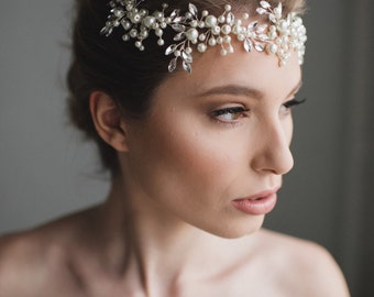Bridal Hair Wreath | Wedding Hair Piece | Bridal Headpiece | Wedding Hair Accessories | Bridal Hair Vine | Pearl Hair Wreath - The Libby