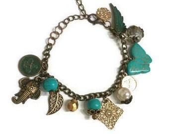 Turquoise Charm Bracelet, Turquoise Bracelet, Vintage Charm Bracelet, Vintage Bracelet, Rustic Bracelet, Girlfriend Bracelet, Bracelet Gift
