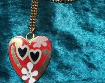 Vintage 80s Gold Enamel Heart Pendant Necklace Love Flower Power
