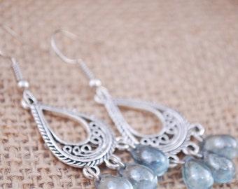 Light blue earrings, bridsmaid gifts, teardrop earrings, Boho Chandelier Earrings, Women's Jewelry, gift idea