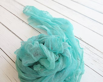 Newborn Cheesecloth Wrap, Teal Baby Wrap, Maternity Cheesecloth Wrap