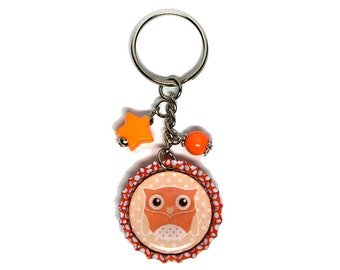 Beaded Bottlecap Keychain - Orange Owl