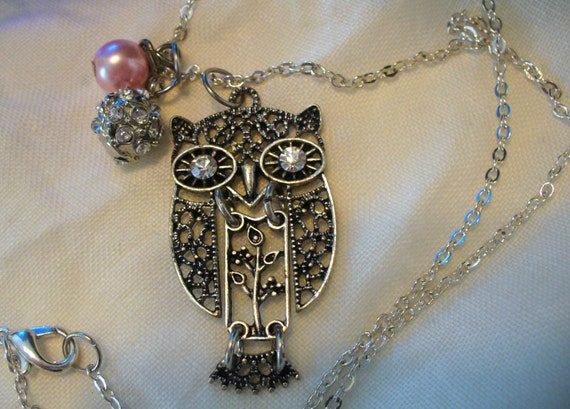 Filigree Owl with Rhinestone Accent Necklace, Owl Necklace, One of a Kind Re-Purposed Beads, Silver Owl Necklace, Birds, MarjorieMae