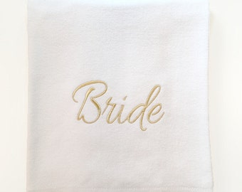"Bride Beach Towel  Embroidered with Sparkly Gold or Silver. 35W""x60L"" Velour 100% Cotton Custom Beach Towel. Bride towel."