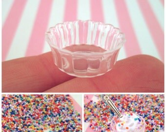 2 Miniature Round Clear Bowls, DIY Kit, for Decoden Fake Food, #553A