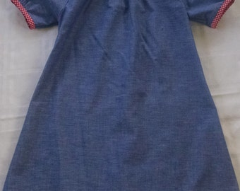 Chambray Dress with Gingham trim - Size 6
